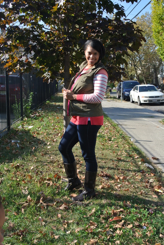 Pumpkin Picking: Cargo Vest + Striped Sweater
