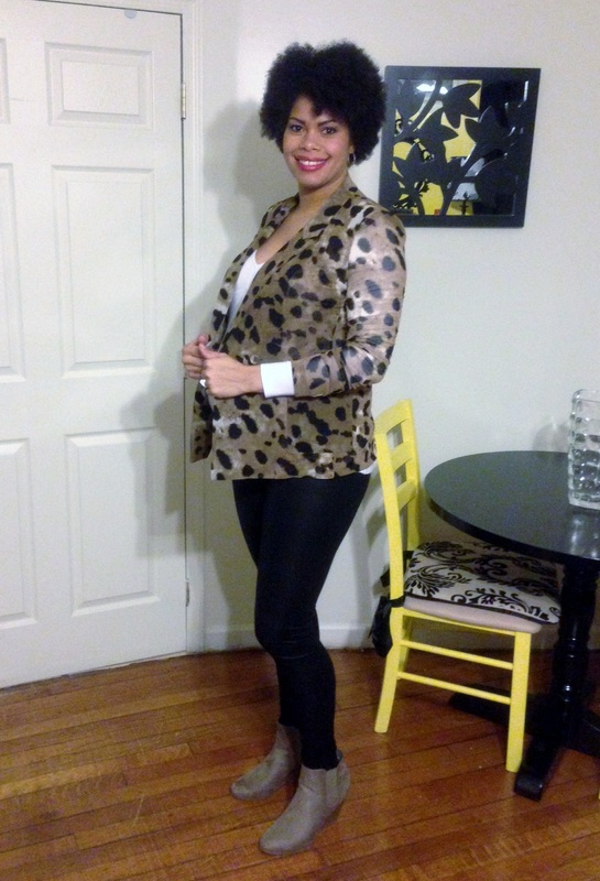 Animal Print Blazer + Faux Leather Tights