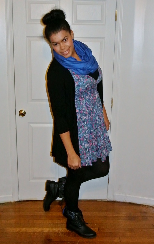 Floral Sun Dress, Boyfriend Cardi+ Military Boots