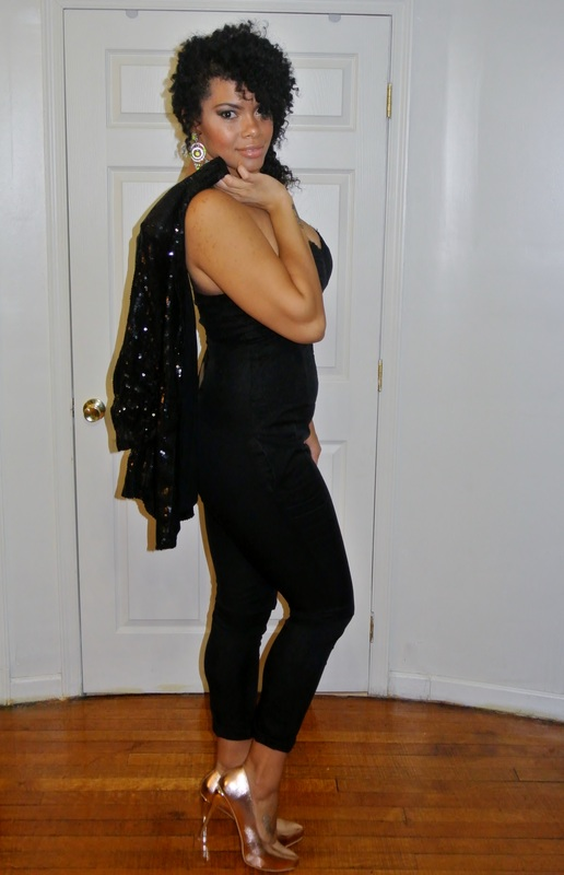 Alicia Gibbs:Chica Fashion: New Year's Eve: Strap Back Corset Jumpsuit + Sequin Blazer
