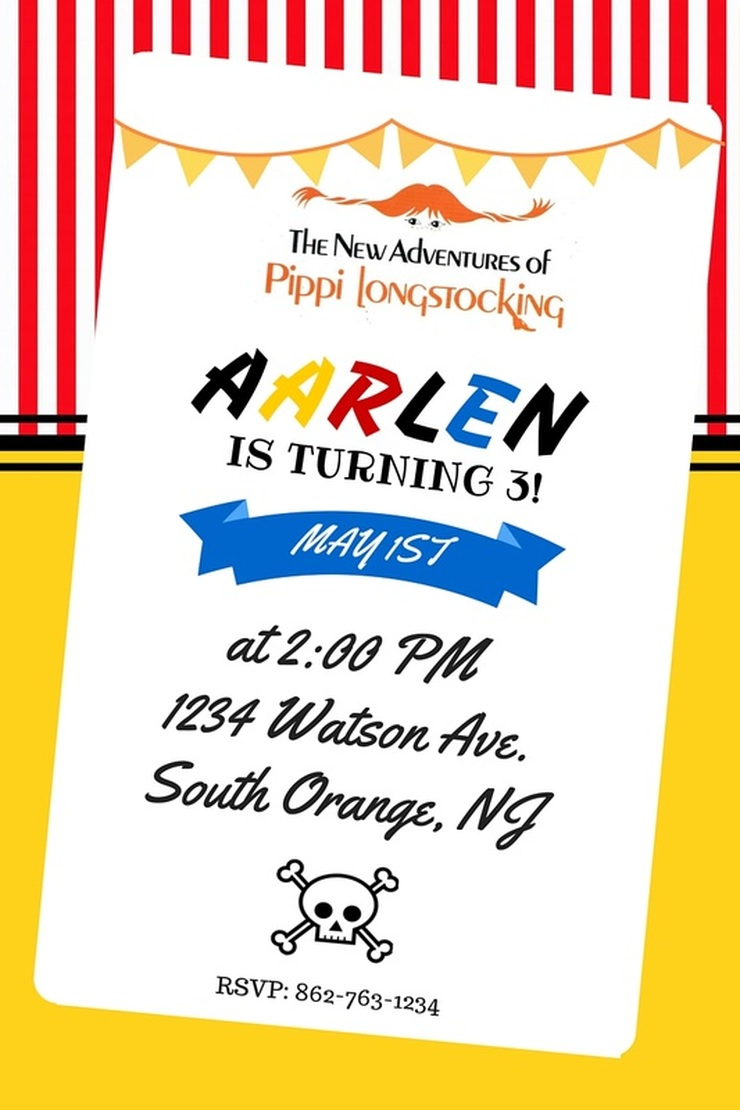 Aarlen's 3rd Birthday: Pippi Longstocking Party - Invitation #chicafashionblog