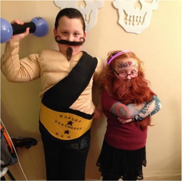 Alicia Gibbs: 12 DIY Family Themed Costumes - Strong man and Bearded Lady