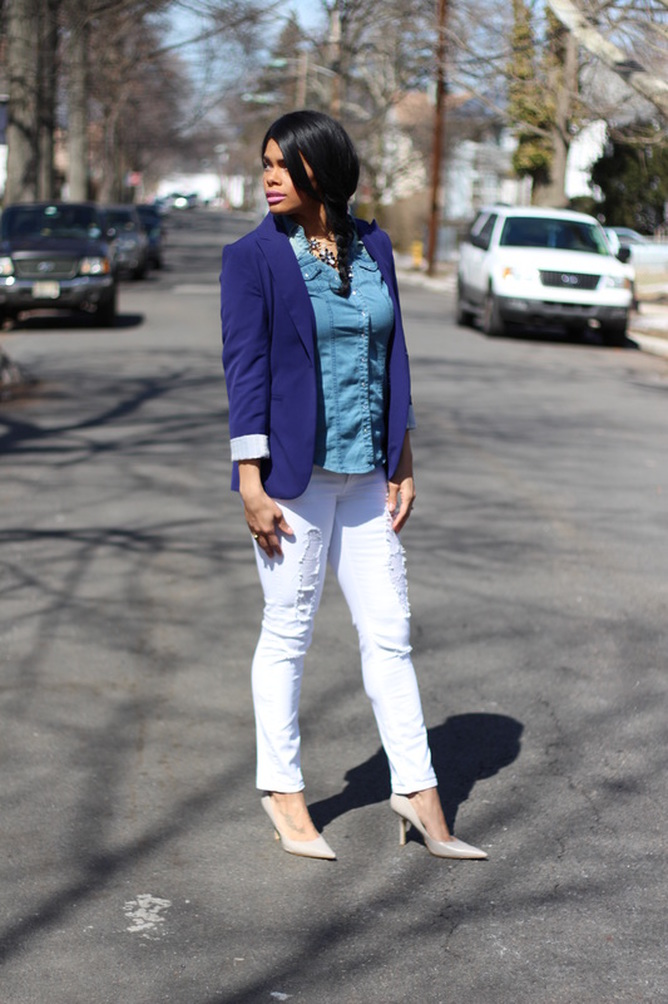 Alicia Gibbs: 3 Tips on How to Wear White Jeans with a Blazer #ChicaFashionBlog