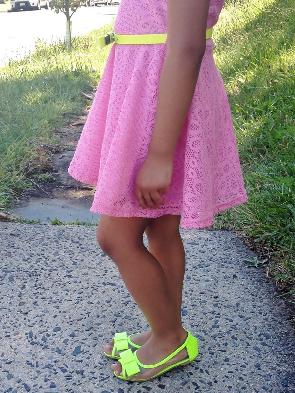 Mini Chica Fashion: Lace Skater Dress + Neon Details