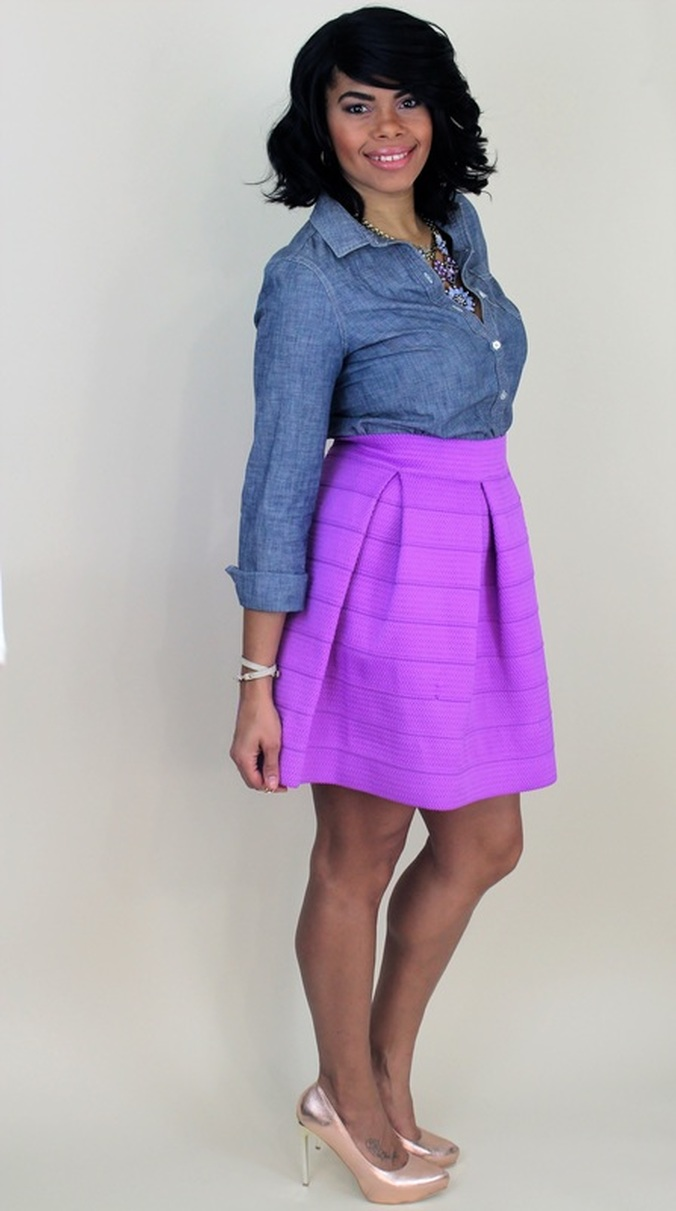 Chica Fashion Blog- Date Night Outfit Idea: Chambray Button Up + Textured Knit Skater Skirt