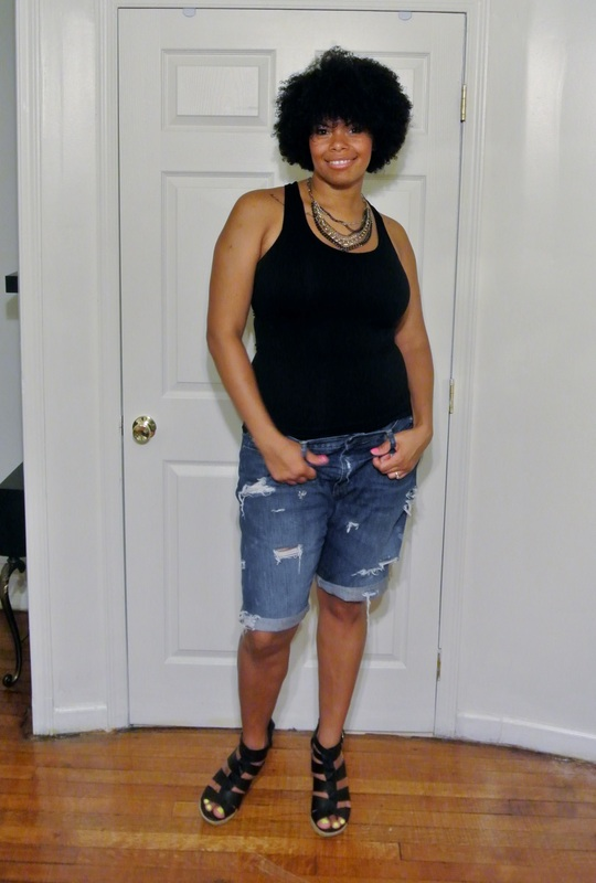 Alicia Gibbs Black Tank + DIY Boyfriend Shorts