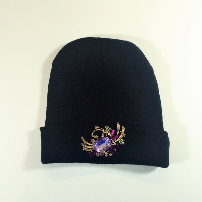 Easy $2 DIY Jeweled Beanie Hat #chicafashionblog