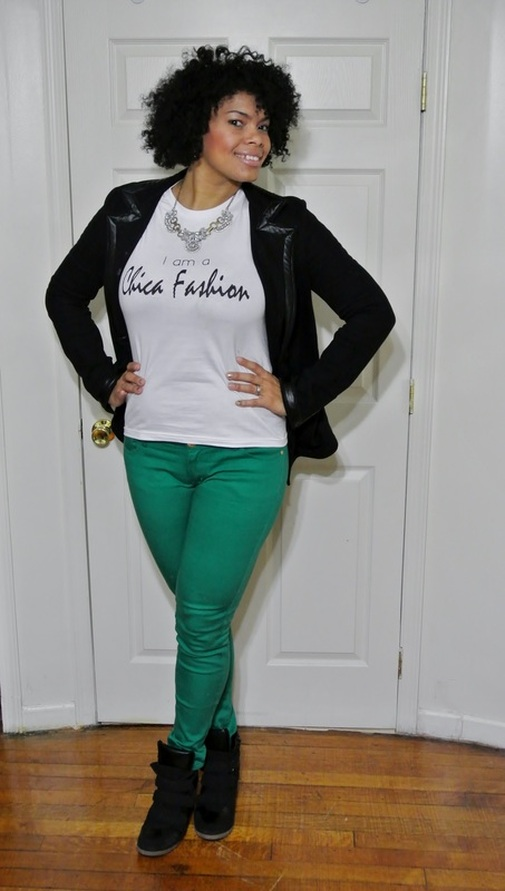 Alicia Gibbs: Chica Fashion: Faux Leather Trim Blazer + Colored Skinny Jeans