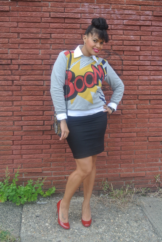 Alicia Gibbs Chica Fashion Phillip Lim for Target Boom Sweater + Pencil Skirt