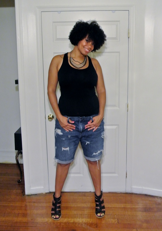 Black Tank + DIY Boyfriend Shorts