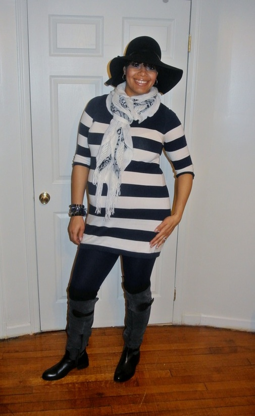 Pinterest Inspired Outfit:Sweater Dress + Over the Knee Boots