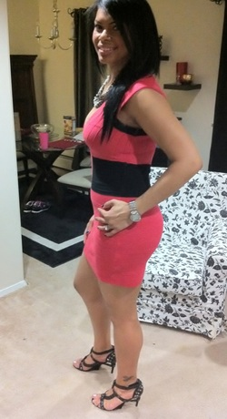 ootn coral color block bandage dress