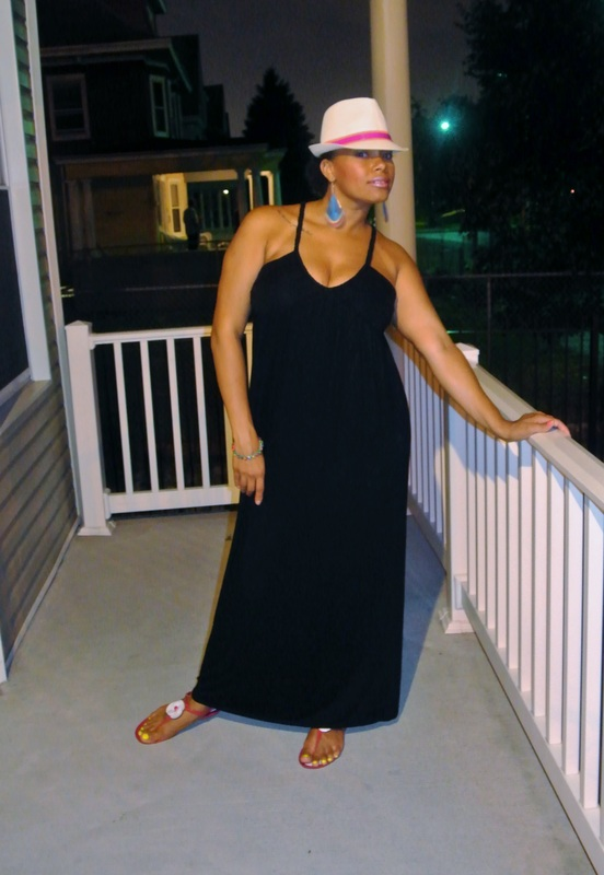 Alicia Gibbs Maxi Dress + Neon Detailed Fedora