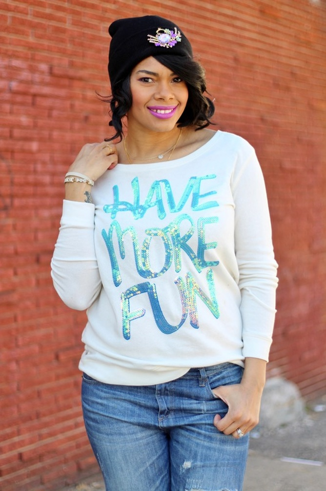 Alicia Gibbs: What to Wear to Church: Sequin Sweatshirt + Distressed Jeans #ChicaFashionBlog