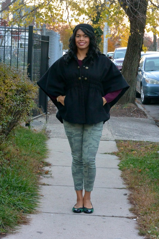 Cape Coat + Camo Pants #ChicaFashionBlog