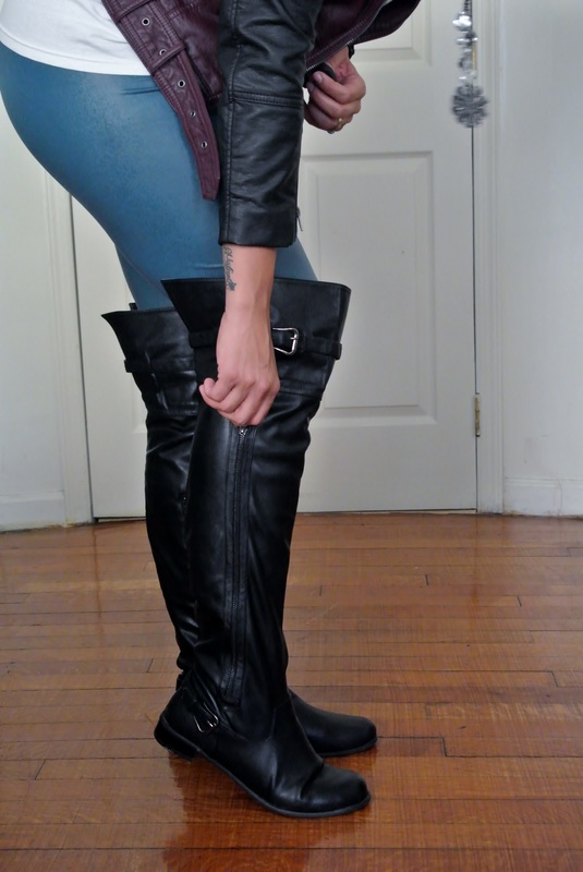 Two Moto Jacket + Faux Leather Leggings + Over the knee boots