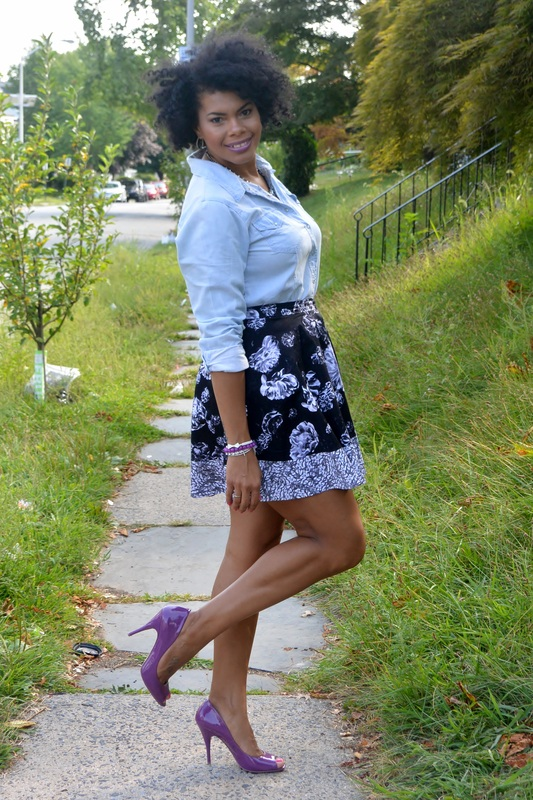 Chica Fashion: Made for TV: Lace Back Chambray Top + Floral Skater Skirt plus My Experience as a Spokesperson