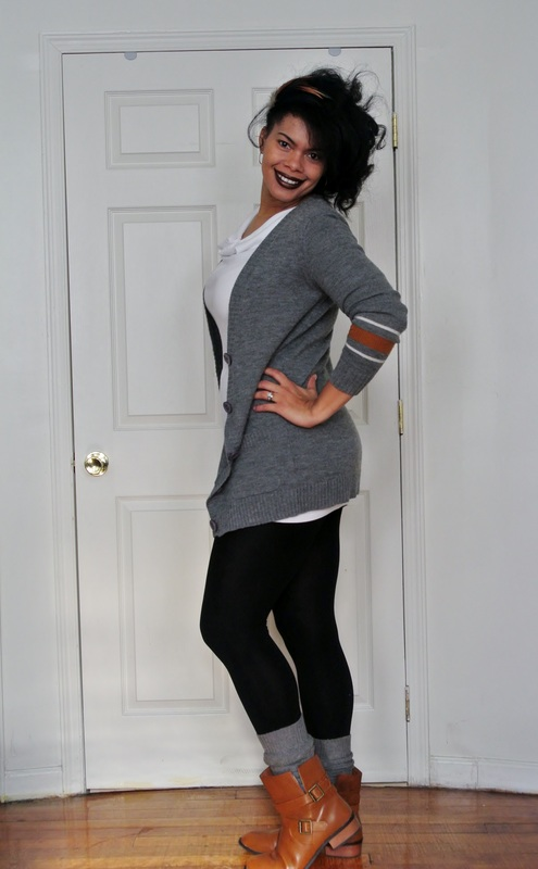 Alicia Gibbs Chica Fashion Boyfriend Cardigan + Fleece Lined Leggings